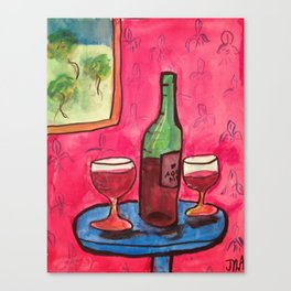 Wine and 2 glasses Canvas Print
