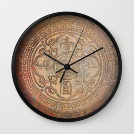 Antic Chinese Coin on Distressed Metallic Background Wall Clock