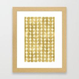 Midcentury Modern Dots in Gold Framed Art Print