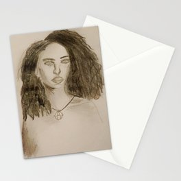Woman Pencil Portrait Stationery Cards