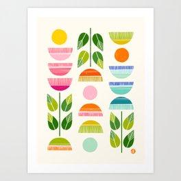 Sugar Blooms - Abstract Retro Inspired Design Art Print