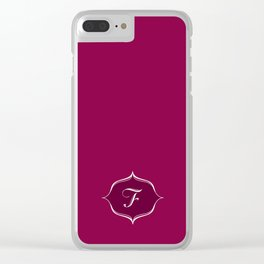 F Monogram Burgundy Clear iPhone Case