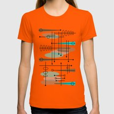 Mid-Century Modern Atomic Inspired Orange Womens Fitted Tee MEDIUM