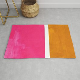 Magenta Yellow Ochre Rothko Minimalist Mid Century Abstract Color Field Squares Rug