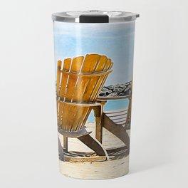 Adirondack Beach Chairs at the Lake - Summertime - Beachy Decor Travel Mug