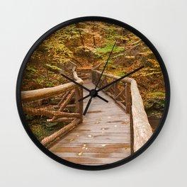 Autumn Boardwalk Bridge Wall Clock