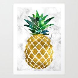 Gold Leaf Pineapple on Marble Background Art Print