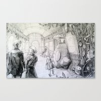 studio ghibli Canvas Prints featuring Studio Ghibli Subway by Perri MacKenzie