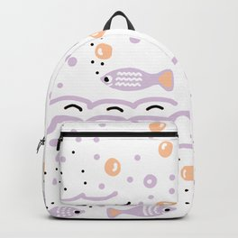 Little Lilac Fish in the Sea , Waves and Water with Tiny School of Fishes Pattern Backpack
