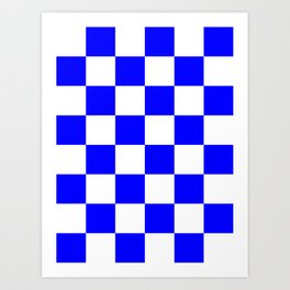 Large Checkered - White and Blue Art Print