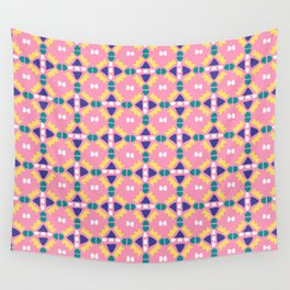 Pink and Yellow Geometric Crown Wall Tapestry