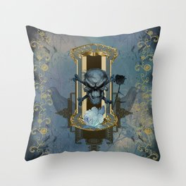 Awesome skull with crow Throw Pillow