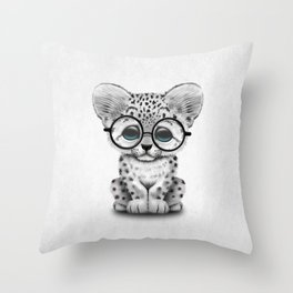 Cute Snow Leopard Cub Wearing Glasses Throw Pillow
