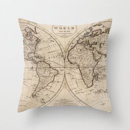 Old Fashioned World Map (1795) Throw Pillow