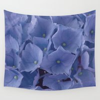 hydrangea Wall Tapestries featuring Blue Hydrangea by Maria Moreno