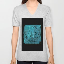 Aqua dolphin roman mosaic pattern Unisex V-Neck
