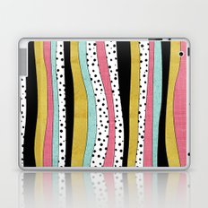 Polka Pink Blue Gold Wavy Stripes Laptop & iPad Skin
