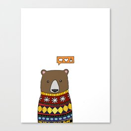 Sweater Bear  Canvas Print