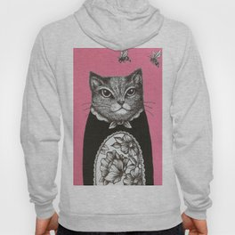 Pink Cat - Ink and acrylic cat art Hoody