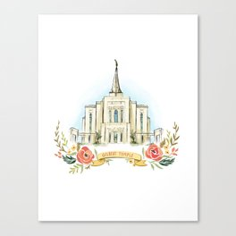 Gilbert Arizona LDS watercolor Temple with flower wreath  Canvas Print