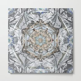 Newsprint Mandala in Silver, Topaz, and Sapphire Metal Print