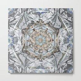 Newsprint Mandala in Silver, Topaz, and Sapphire Metal Print
