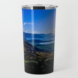 lake wanaka covered in blue colors new zealand beauties and mountains at sunrise Travel Mug
