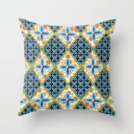 Elizabethan Folkloric Blossoms Throw Pillow