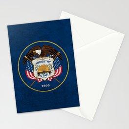 Flag of Utah in dark grunge Stationery Cards