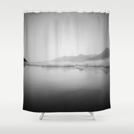 Lake Scene In Black And White Shower Curtain