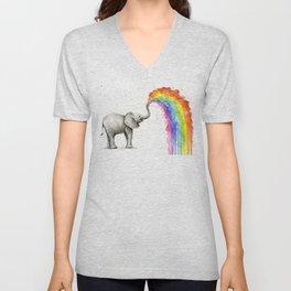 Rainbow Baby Elephant Unisex V-Neck
