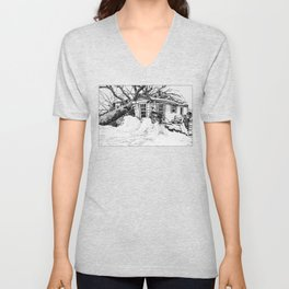 An Old Home is Overtaken by the Forces of Nature Unisex V-Neck