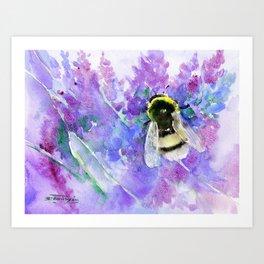Bumblebee and Lavender Flowers Herbal Bee Honey Purple Floral design Art Print