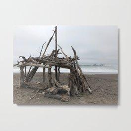 Beach bungalo Metal Print