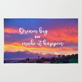 """Dream big & make it happen"" quote pink, yellow & blue sunrise Rug"