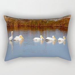 Six White Pelicans Rectangular Pillow