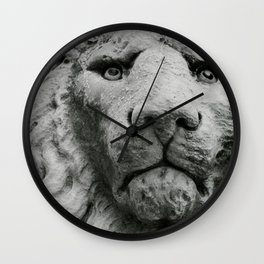 Sculpture of a medieval lion head of stone (Italy) B/W Photography Wall Clock