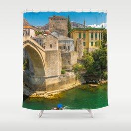 Historic Stari Most Old Mostar Bridge Neretva River Bosnia Herzegovina Europe Ultra High Resolution Shower Curtain