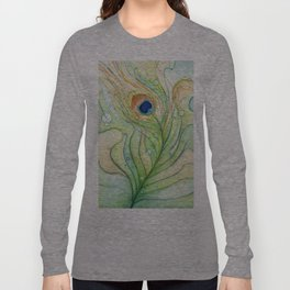Peacock Feather Green Texture and Bubbles Long Sleeve T-shirt