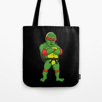ninja turtle Tote Bags featuring Teenage Putin Ninja Turtle by Chris Piascik