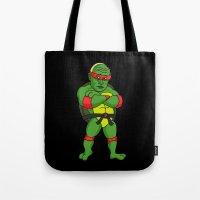 putin Tote Bags featuring Teenage Putin Ninja Turtle by Chris Piascik