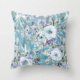 MAUI MINDSET Mystic Aqua Floral Throw Pillow