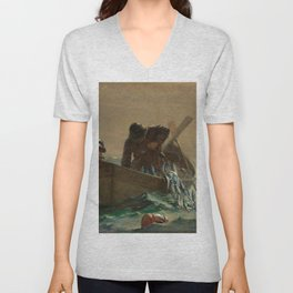 The Herring Net - George's Bank, New England maritime landscape by Winslow H-o-m-e-r Unisex V-Neck