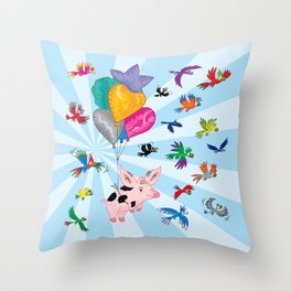 The Pig and The Parrots Throw Pillow
