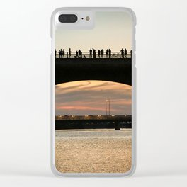 People at sunset Clear iPhone Case