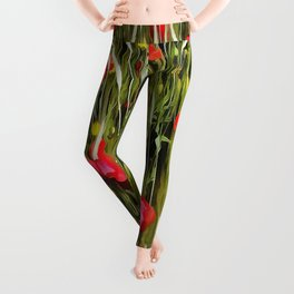 Red Poppies In A Cornfield Leggings