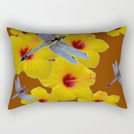 COFFEE BROWN BLUE DRAGONFLIES YELLOW HIBISCUS Rectangular Pillow