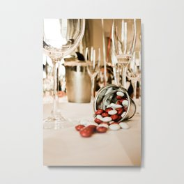 CELEBRATE (STILL LIFE - Wine Glasses - M&M's - Zinc Bucket) Metal Print