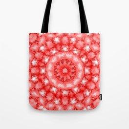 Kaleidoscope Fuzzy Red and White Circular Pattern Tote Bag