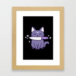 Black Knife Kitten 03 Framed Art Print